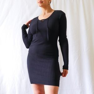 Navy blue ribbed knitted sweater dress